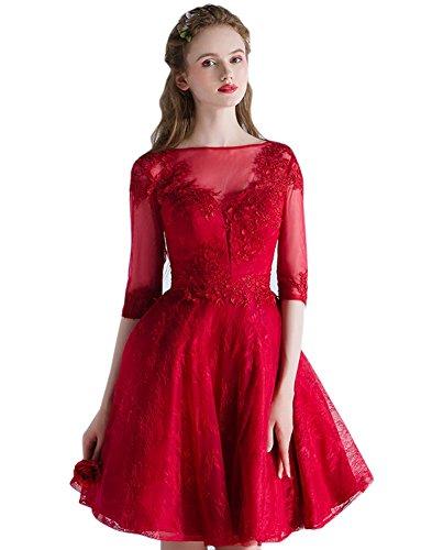 Drasawee Damen Linie burgunderfarben Kleid A pUp8qzxwrP