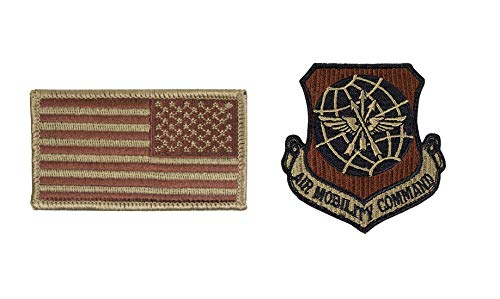 USAF Air Mobility Command OCP Spice Brown Patch and Reverse Flag Bundle (Single Bundle)