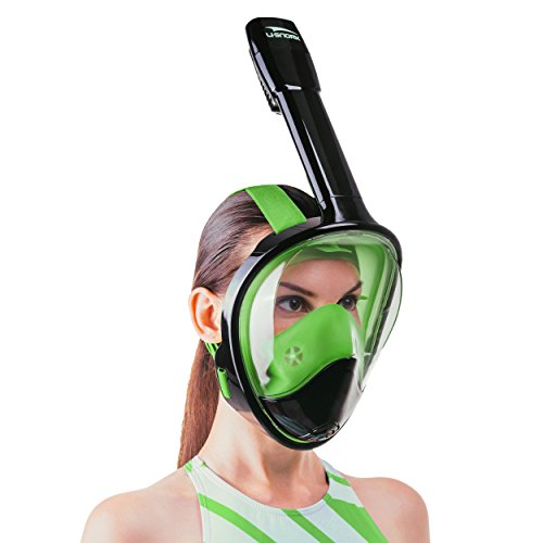 (Usnork Full Face Snorkel Mask, Easy-breath Snorkeling Gear, Anti-Fog and Anti-Leak Snorkel Set with Exceptional Panoramic View, Waterproof Phone Bag and Towel Included (Black-Green, S/M))
