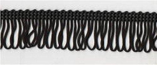 25mm Essential Trimmings Rayon Looped Fringe Trimming Black - per metre