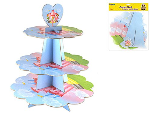 Cupcake Stand for Girls Birthday   3 Tier Holders   Tower Serving up to 24 Cupcakes   Princess Tiara Fairy Tales Theme   Perfect Treat Display Stacker   Round, Pink, Sturdy Cardboard & Reusable   14