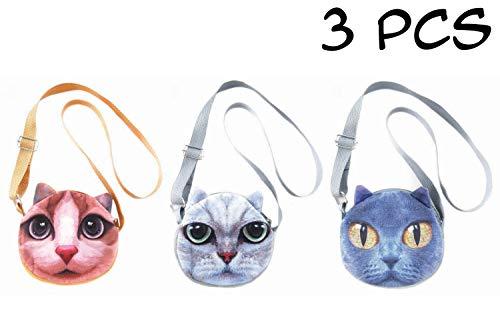 - 3 PCS Cute Animal Face Crossbody Shoulder Bags Set for Girls, Teens, Tween and Women - Photorealistic Vivid 3D Printed Faces - Zipper Closure