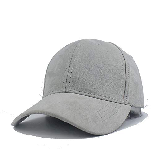 Zipok Plain Suede Baseball Caps Casual Dad Hat Outdoor Blank Sport Solid Color Cap and Trucker Hat for Men and Women Light Gray