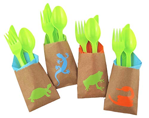 (Reptile Party Cutlery Set - 24ct Birthday Supplies Favors for Kids Napkins)