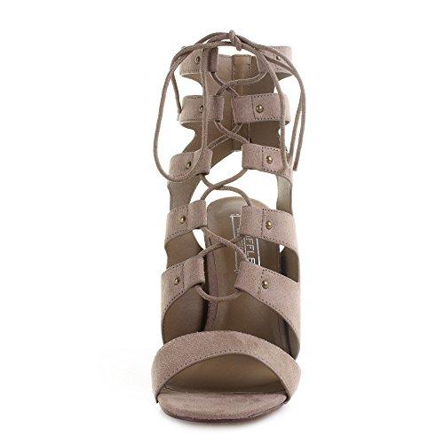 Womens Ladies Vela45 Microfibre Lace up High Block Heel Sandals Shoes Taupe sdL9kZZ1oM
