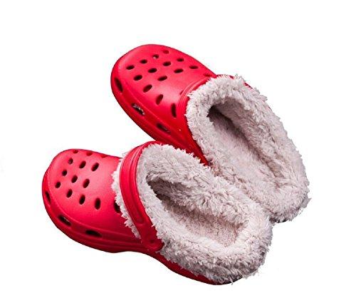 Rainoop Women Garden Shoes Fashion Autumn Winter Warm Slippers Breathable mesh Slip On Adjustable Strap Red