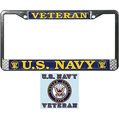 Butler Online Stores U.S. Navy Veteran License Plate Frame Gift Bundle with U.S. Navy Veteran Decal: Automotive