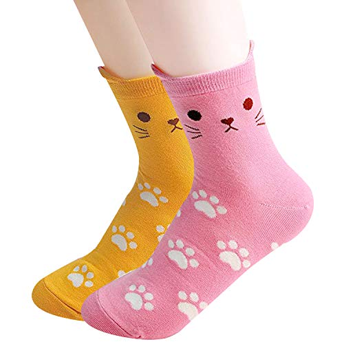 Womens Casual Socks - Cute Crazy Lovely Animal Cats Dogs Owls Art Pattern Good for Gift (Paw Pink Yellow) ()