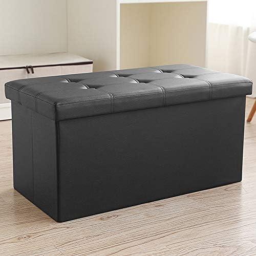 BELIFEGLORY Folding Storage Ottoman Cubic Cuboid Storage Bench Storage Chest Storage Box Faux Leather Footrest Coffee Table