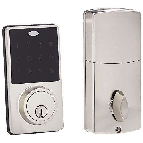 AmazonBasics Electronic Deadbolt – Modern – Satin Nickel