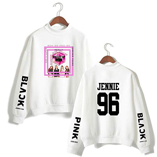 Maglietta Cappuccio Hoodie Hooded Jennie White Pullover Giacca Con Maniche Blackpink Felpa Maglione Enjoyyourlife Lunghe Sweater Sweatshirt YwIqOXc