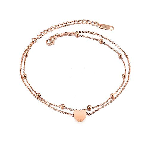 (QJLE Girl Women Anklet 18K Gold Plasted Stainless Steel Chain Foot Anklet Bracelet Jewelry Gift (Heart))