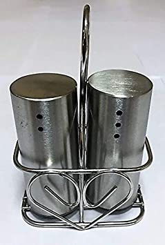 HMSTEELS Stainless Steel Round Design Salt and Pepper Set with Stand