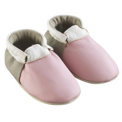 Tichoups chaussons bébé cuir souple ticolo rose - taupe - blanc