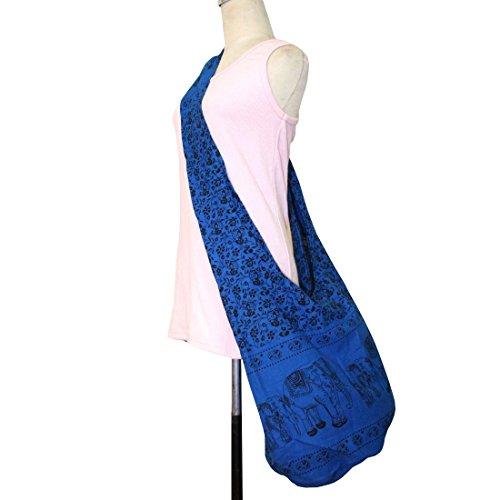 GaanZaLive36 Original All-match Printed Elephant Cotton Denim Sling Crossbody Thai Top Zip Handmade Bucket Travel Bag # Navy - Clothing India Versace