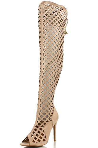 CR Elnora Gladiator Open Toe Lace Back Full Zipper Thigh High Stiletto Heel Boot Nude 8.5