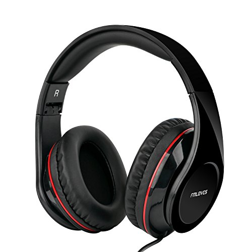 Active Noise Cancelling Over Ear Headphones with HI-Fi,20Hours for Music time Travel and Office Computer, Lightweight air Travel -Wired Black from FMLOVES ()