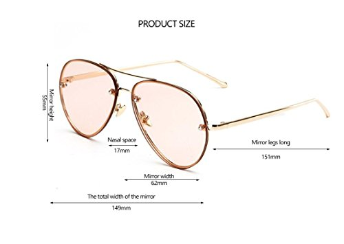 9986b4bb09 GAMT Vintage Rimless Aviator Sunglasses Mirrored Clear Lens Designer for Women  Pink