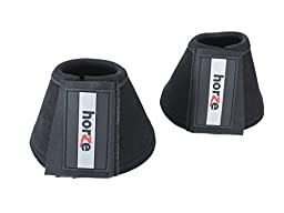 Horze Allround Bell Boots , Reinforced with Durable Synthetic Suede Black Medium