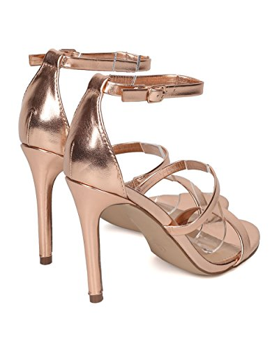 Breckelles Dames Kunstleer Stiletto Sandaal - Triple Band Hak - Minimalistische Stiletto Sandaal - Gh49 Door Rosé Goud