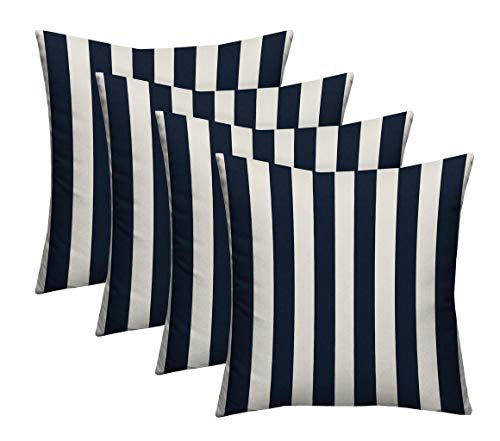 Navy Cabana Stripe - RSH Décor Set of 4 - Indoor/Outdoor Navy & White Cabana Stripe Decorative Square Throw/Toss Pillow - Choose Size and Choose Color