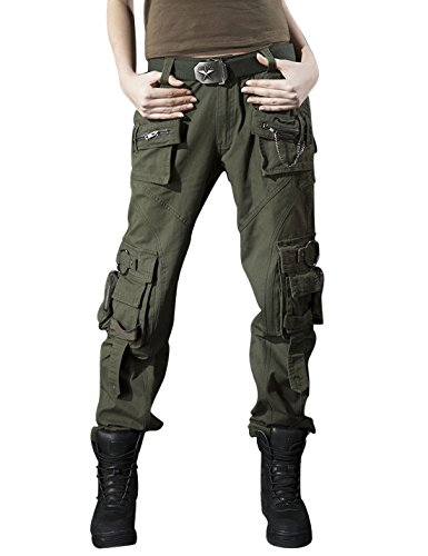 Army Combat Trousers (Gihuo Women's Casual Outdoor Military Cargo Pants With Multi Pockets (Medium, Army Green))