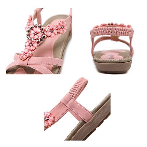 Ruiren Bohemian Sandals for Women, Summer Post Sandals Flip Flops Flat Shoes for Ladies Pink