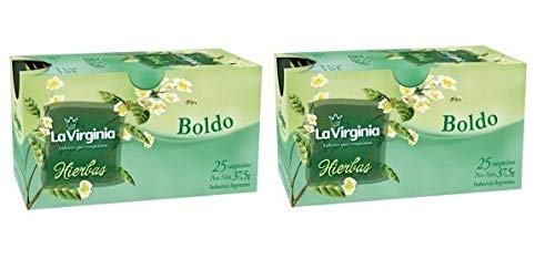 LA VIRGINIA Te Boldo 2 Pack 25 Saquitos | Boldo Tea 2 Pack 25 Tea Bags