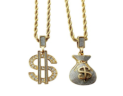 Double Chain Necklace with Dollar Sign and Money Bag Pendants (Gold)