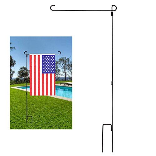 Black Iron Garden (BonyTek Garden Flag Stand Flagpole, Black Wrought Iron Small Flag Stand For Yard Garden Flag Pole Flag Holder- 36.22