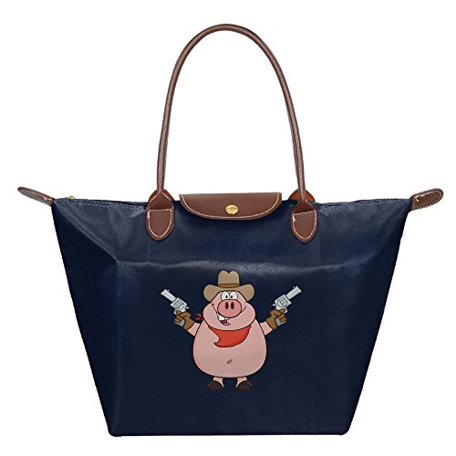 Lamont Rhea Cartoon Pig Hold Gun Women Shoulder Bags Waterproof Leather Folded Messenger Nylon Bag Dumplings Travel Tote Hopping Folding School Handbags (Pig Costume From Saw)