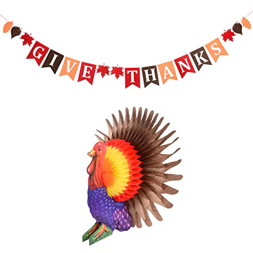 Thanksgiving Banner with Tissue Turkey - 2018 New Design Give Thanks Banner with Fall Leaves,Colorful Turkey,Perfect for Fall Holiday Decorations