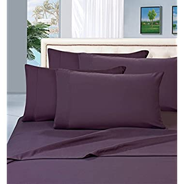 Elegant Comfort 1500 Thread Count Egyptian Quality 6 Piece Wrinkle Resistant Luxurious Sheet Set, King, Eggplant Purple