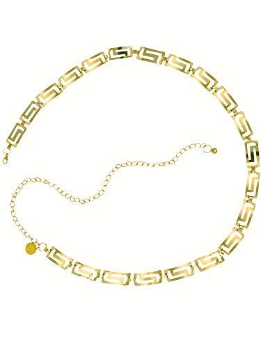 Plus Size Golden Tone Classic Greek Key Chain Link Belt ()