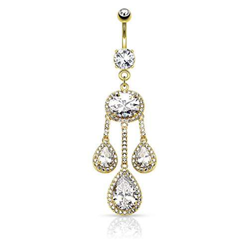Oval Navel Ring - BodyJewelryOnline Dangle Belly Ring - 3 Pear CZ Centered Paved CZ Drop w/Large Oval CZ Chandelier (Gold Plated)