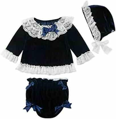 8c7037d82 3Pcs Newborn Kids Baby Girls Clothes Lace Bowknot Velvet Tops Shorts Pants  Hat Outfits Set