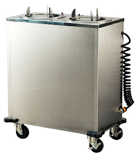 Lakeside 937 Mobile Plate Dispenser, Stainless Steel Cabinet, Adjust-a-Fit, 2 Stack, Heated, Accommodates Plates 8-3/4
