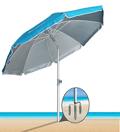 AMMSUN 2018 6.5 ft Portable Sun Shade Umbrella, Inclined, Heat Insulation, Antiultraviolet Function, for Patio, Garden, Fishing, Sports, Outdoor, Camping, Picnic /Blue (Middle With In Chairs Two Table)