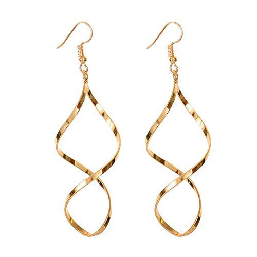 - MXYZB Gold Plated Infinity Twist Spiral Hook Dangle Earrings for Women Girls