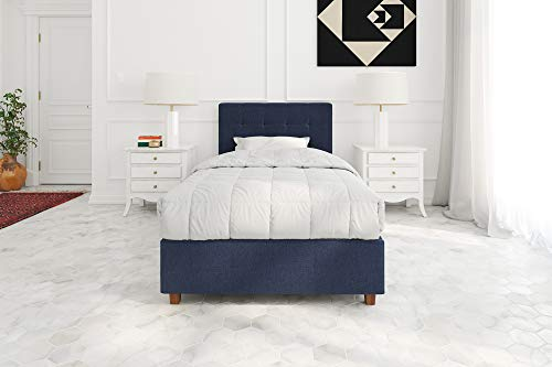 DHP Poppy Tufted Upholstered Platform Bed Frame, Blue Linen, Twin