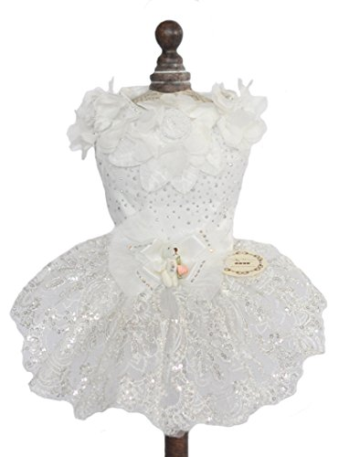 TOPSUNG Pure White Satin Pet Princess Tutu Flower and Sequin Embroidery Wedding Dog Dress for Small Dogs / Cats, Asia Size S