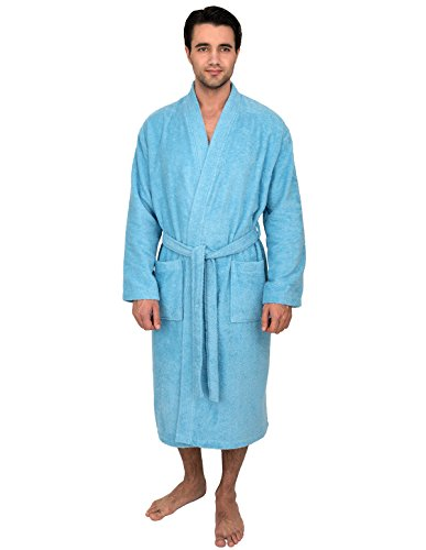 TowelSelections Men's Robe, Turkish Cotton Terry Kimono Bathrobe Large/X-Large Air Blue