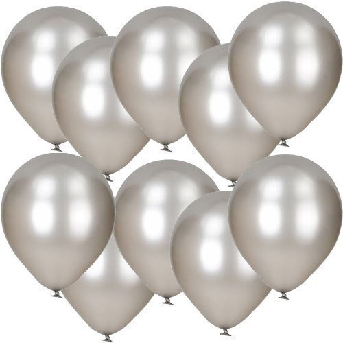 30 Pack Of 12' Silver Metallic Latex Balloons notjustballoons