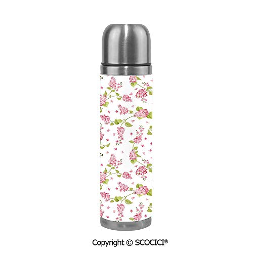 Double Wall Vacuum Pot Insulated Stainless Steel Water Bottle Nature Blossoms Buds Flowers Lavenders Florals Leaves Ivy Artwork Thermos Cups Travel Mug 500ML/17.6OZ