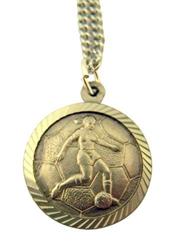 Nickel Saint Christopher Medal Girls Soccer Sports Pendant, 3/4 Inch