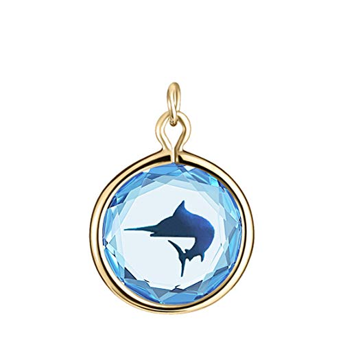 (LovePendants Charm in Blue Swarovski Crystal with Blue Enameled MARLIN Engraving in Yellow-Gold-Plated-Silver)