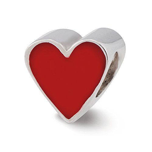 Sterling Silver & Red Enameled Heart Bead Charm, 9mm - Enameled Heart Bead