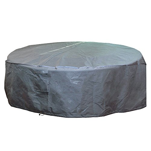 M&H Heavy Duty Waterproof Large Patio Set Cover - Outdoor Furniture Cover with Padded Handles and Durable Hem Cord - Weather Resistant, Fits Large Round Table with Chairs, 96 inch Diameter, Taupe (Extra Furniture Garden Large Oval Cover)