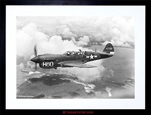The Art Stop WAR Military Plane Vintage Fighter Jet Black White P-40 Framed Print F97X4060