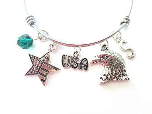 Patriotic / USA / America themed personalized bangle bracelet. Antique silver charms and a genuine Swarovski birthstone colored element.